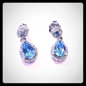 14K Gold Earrings with Blue Topaz & Diamonds